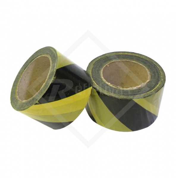 Fita Zebrada de Isolamento - Preta e Amarela 100 metros. Material indispensável para demarcação de áreas.