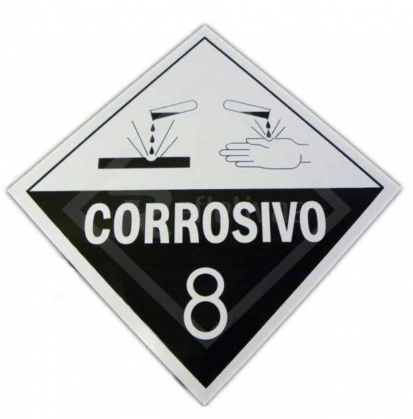 Placa Simbologia ONU - Corrosivo 8 30 x 30.