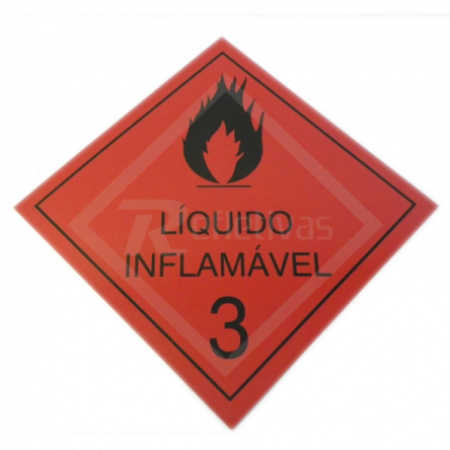 Placa Simbologia ONU - Líquido Inflamável 3 30 x 30