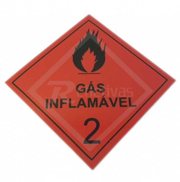 Placa Simbologia ONU - Gás Inflamável 2 30 x 30