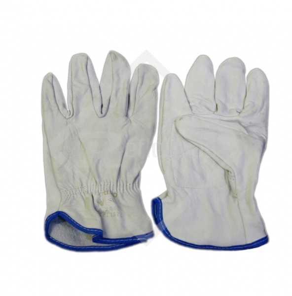 Luvas de segurança, confeccionadas em vaqueta, com reforço interno na palma e elástico no dorso do punho.