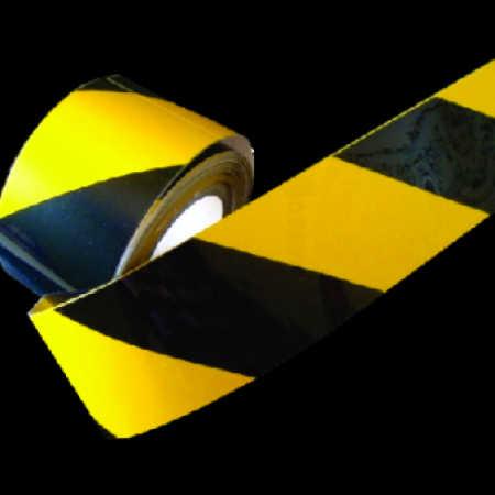 Faixa Adesiva Refletiva Zebrada preta e amarelo-Grau Comercial