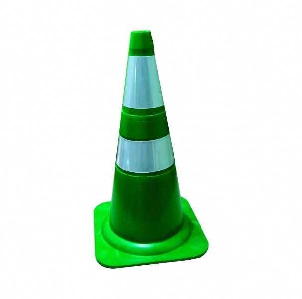 Cone Verde Refletivo Flexível 75 cm.
