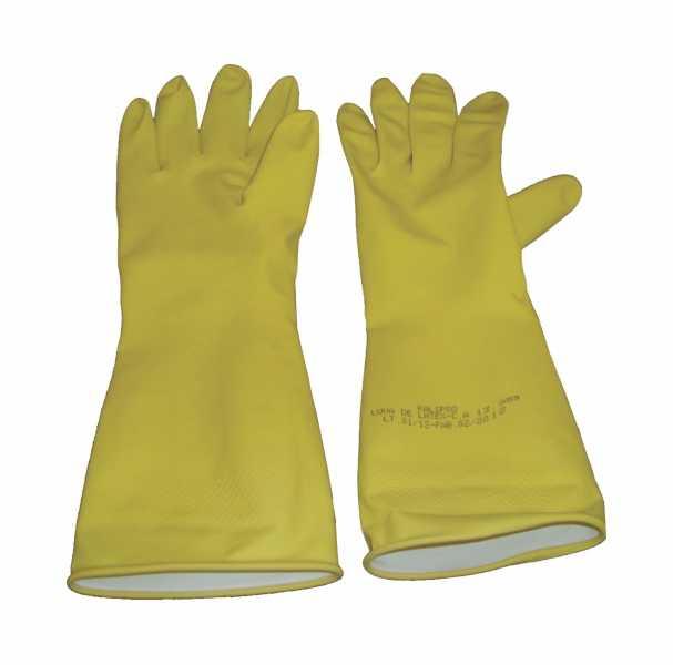 Luvas de segurança, fabricadas em látex natural, forradas internamente com flocos de algodão, com acabamento antiderrapante na palma, face palmar dos dedos e ponta dos dedos e ponta dos dedos.