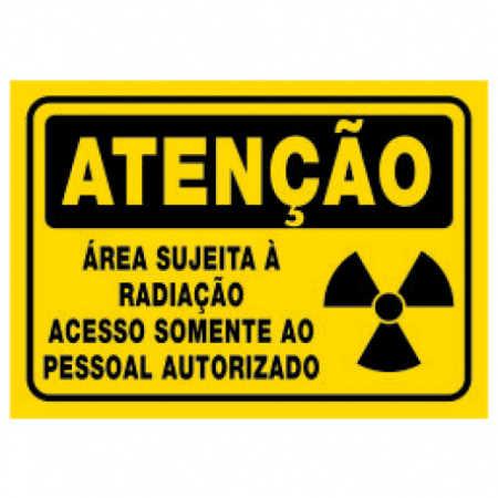Placa Área Sujeita à Radiação Acesso Somente ao Pessoal Autorizado