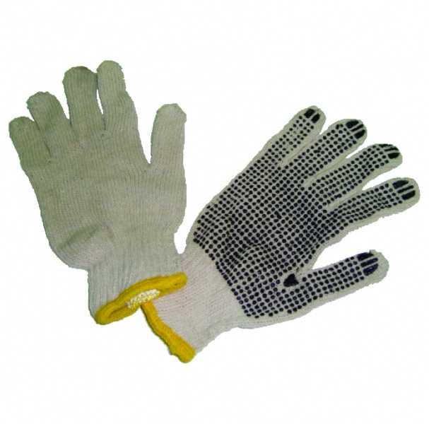 Luvas de segurança, tricotadas com fios de algodão e poliéster, reversíveis e sem costuras, revestidas nas palmas com pigmentos em PVC.