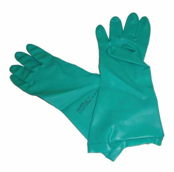 Luvas de segurança, fabricadas em látex nitrílico, na cor verde, forradas internamente com flocos de algodão e palma antiderrapante.