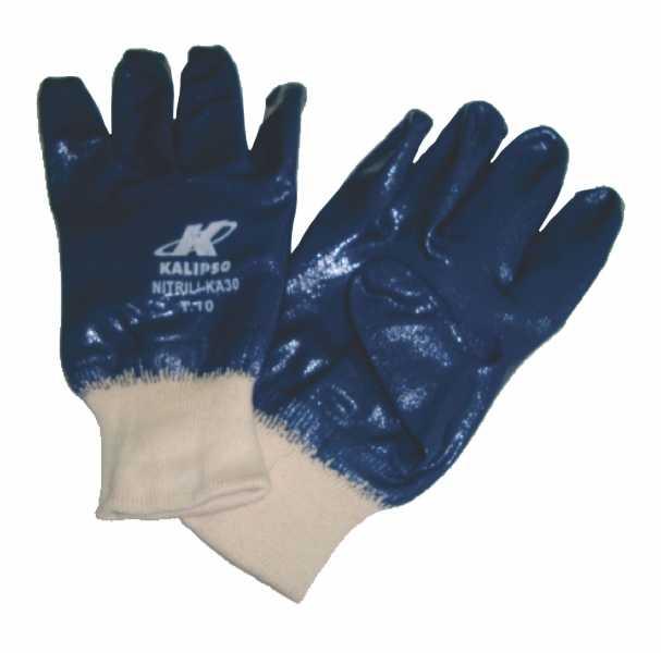 Luvas de segurança, confeccionadas em malha de algodão, com revestimento em látex nitrílico na palma, dedos, dorso e punho em malha de algodão.