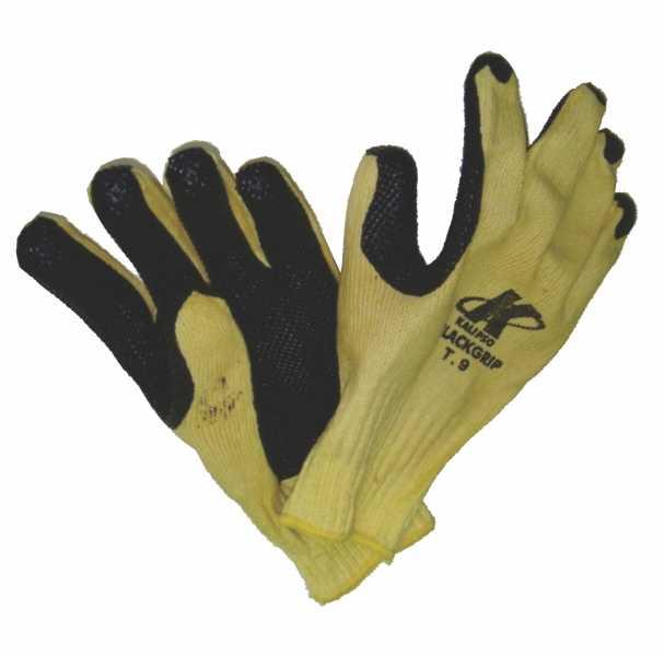 Luvas de segurança, confeccionadas com fios de algodão e poliéster, com revestimento antiderrapante de borracha natural nas palmas, face palmar dos dedos e pontas dos dedos.
