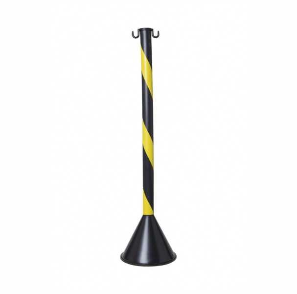 Pedestal para sinalização e segurança confeccionado em três pares ( Base, Tubo em PVC e tampa com dois ganchos constituídos de material resistente ).