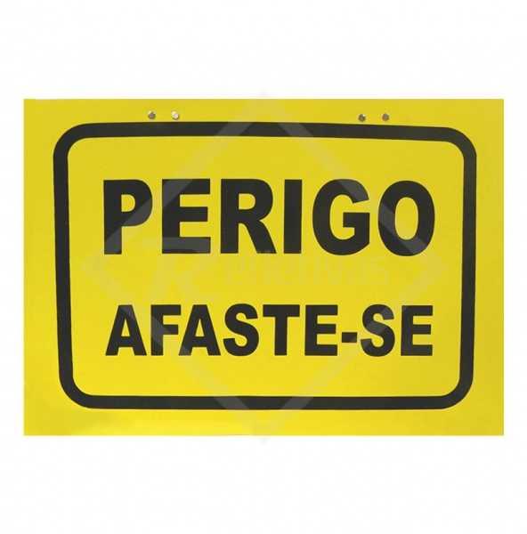 Cavalete autoportante amarelo escrito Perigo Afaste-se de 40 x 30 cm em PSAi